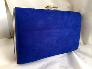 NEW ROYAL BLUE FAUX SUEDE BOX EVENING CLUTCH BAG WEDDING PARTY ...