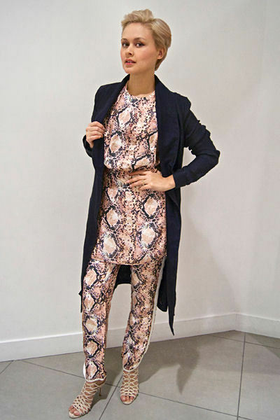 H&M Studio Silk Snakeskin Snake Print Tunic Short Shift Dress UK Size 16