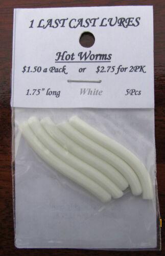 2-5pcs Lot de 1.75 Hot Worms Blanc Panfish Plastics Jigs 1 dernière Cast lures