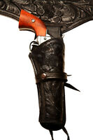 38/357 Black Western/cowboy Action Hollywood Style Leather Gun Holster And Belt