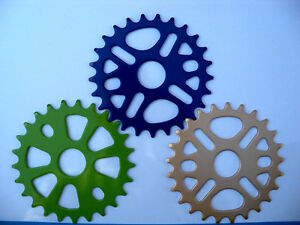25T-BMX-SPROCKETS-FOR-SINGLE-SPEED-CRANKS-BLUE-GREEN-GOLD-FREE-SHIPPING