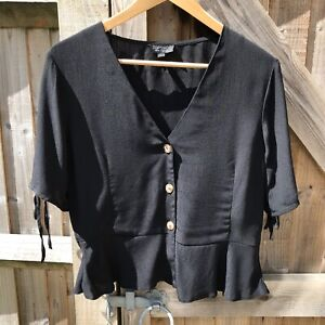 Topshop-Black-Open-Neck-Ruffle-Hem-Blouse-Top-Size-14-VGC