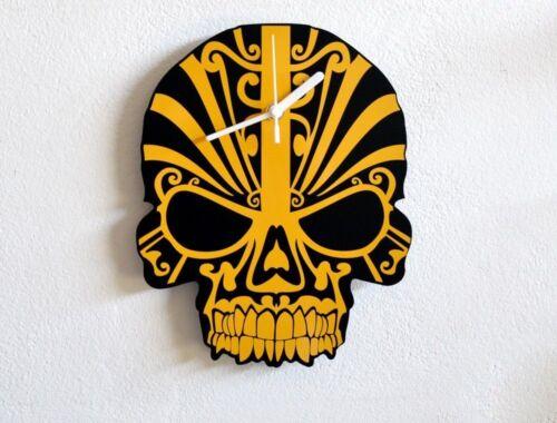 Wall Clock Yellow Skull Modern Design