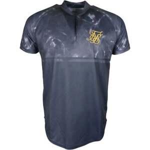 Sik-Silk-Baseball-Short-Sleeve-Polyester-Black-Marble-T-Shirt