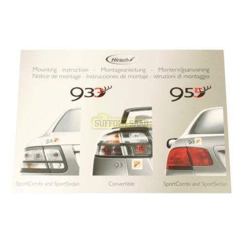 Saab 93 9-3 95 9-5 98-12MY Hirsch Placa de rendimiento Folleto de instrucciones de montaje
