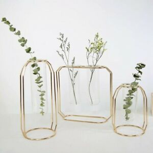 Glass Metal Tube Vase Stand Flower Pot Hydroponic Plant Home Garden Decor