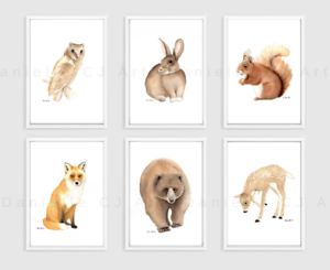 Set-of-6-Woodland-Animal-Prints-watercolour-nursery-print-forest-animals