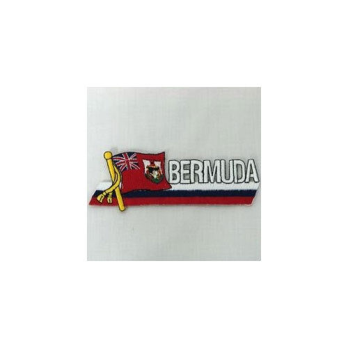 BERMUDA SIDEKICK WORD COUNTRY FLAG IRON-ON PATCH CREST BADGE 1.5 X 4.5 IN.