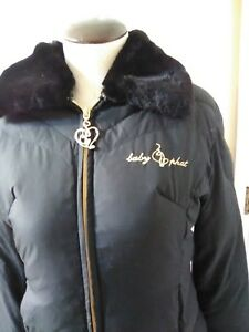 4d9d086dd Baby Phat Black Puffer Jacket FAUX Fur Trimmed Womens Small