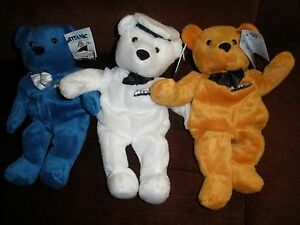 NEW Lot Of 3 Titanic Limited Edition Bears Limited Ed W/ Tags sealed in plastic