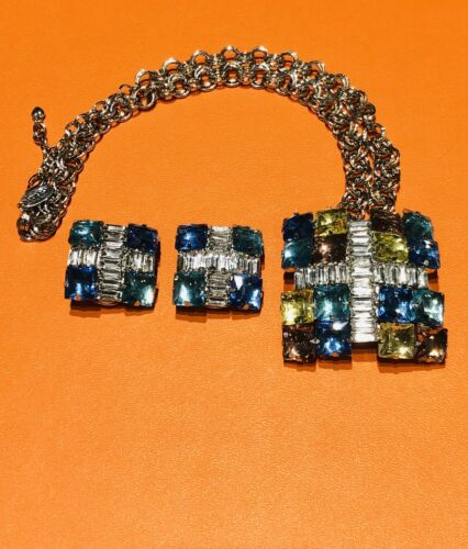 Arnold Scaasi Multi Color Crystal Square Necklace… - image 1