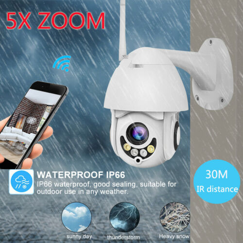 5X ZOOM 1080P 2.0MP FHD 360° PTZ IP Speed Dome Camera IR Night Vision Cam Outdoo