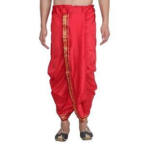Sojanya-Men-039-s-Cotton-Silk-Dhoti-Traditional-Wear-Red-With-Maroon-amp-Golden-Border
