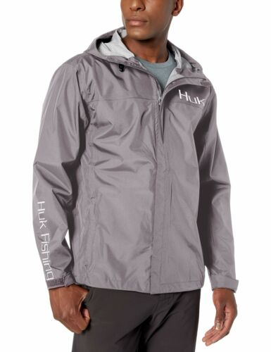 Huk Men/'s Packable Rain Jacket Charcoal Gray Large