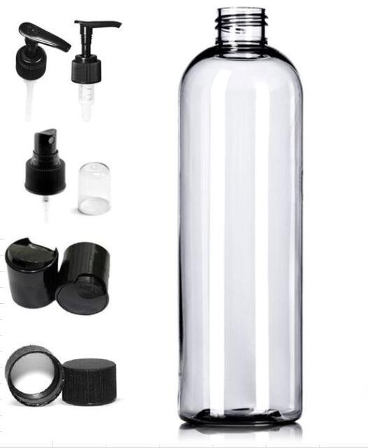 e83591995555 3 Pack Empty Clear 16 oz. PET Plastic Bullet Round Bottles with Black Caps