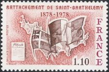 France 1978 St Barthelemy Island/Map/Flags/Politics/Manuscript 1v (n45319)