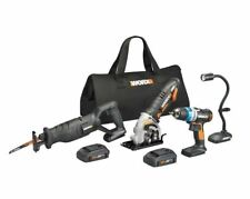 WORX WX947L 20V 4 PC Kit: Ai Drill, Worxsaw, Reciprocating Saw and Flex Light