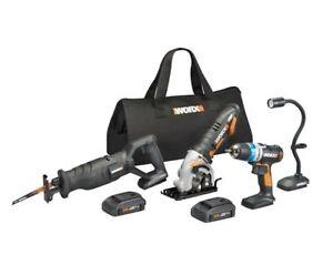 WORX-WX947L-20V-4-PC-Kit-Ai-Drill-Worxsaw-Reciprocating-Saw-and-Flex-Light