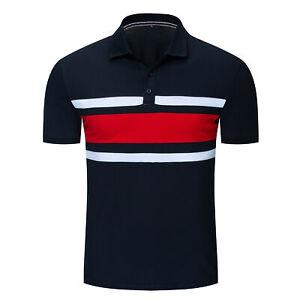Fashion-Men-Patchwork-Polo-Shirt-Short-Sleeve-Striped-Cotton-T-Shirt-Casual-Tops