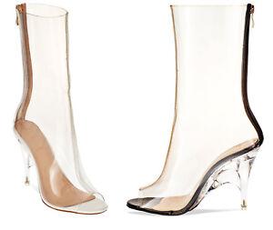 S387 - Ladies Perspex Clear Peep Toe High Heeled Ankle Boots - UK ...