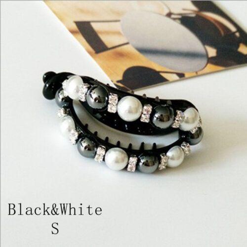 Women Fashion Pearl Ponytail Holder Girl Hairband Oval Black Hair Clip Decor