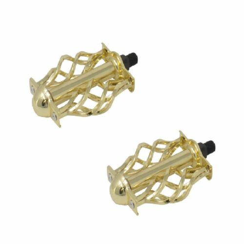 "GOLD BICYCLE 1//2/"" TWISTED PEDALS BIRDCAGE BMX CRUISER LOWRIDER CYCLING BIKES NEW"