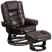 Contemporary Brown Leather Recliner And Ottoman - Swiveling Mahogany Wood Base