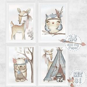 4-x-Kinderzimmer-Babyzimmer-Bilder-Set-Boho-Wald-Tiere-Reh-Bild-DIN-A-4-S-31