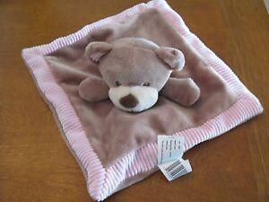 kellytoy blanket security lovey kelly toy plush rattle pink tan bear