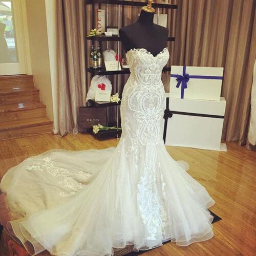 Sweetheart Mermaid Wedding Dress Strapless Sleeveless Bridal Gown Custom 4-26++