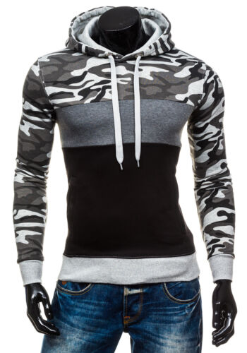 Herren Kapuzenpullover Sweatshirt Pullover Camouflage Hoodie Army BOLF 1A1 Motiv
