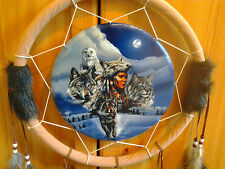 Smart round shape dream-catcher with an Indian, eagle, tiger and wolf + feathers