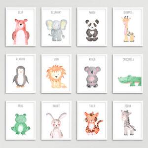 Safari-jungle-animaux-Nursery-Imprime-Set-Bebe-Enfants-Chambre-photos-Wall-Art-Decor