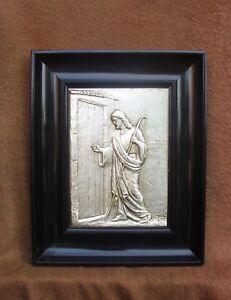 Superbe-et-rare-cadre-religieux-laque-noir-de-style-Napoleon-III-Berger-Jesus