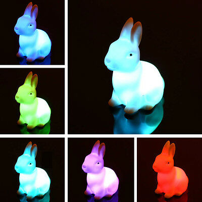 Cute Rabbit Wedding Party Decor Color Changing LED Night Lamp Light Kids Gift