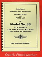 Van Norman 38 Milling Machine Instructions & Parts Manual 0882