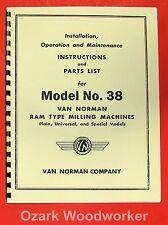 Van Norman 38 Milling Machine Instructions Amp Parts Manual 0882