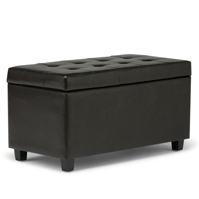 Espresso Brown Leather Storage Ottoman Coffee Table W Tufted Top