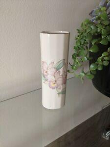 Vintage-Otagiri-of-Japan-Pink-Iris-Flower-Floral-Bud-Vase-Gold-Rim-6-75-in-Tall