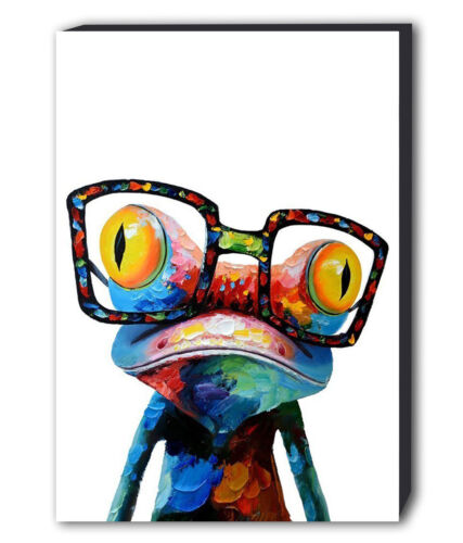 VARIOUS SIZES FROG ABSTRACT COLOUR CANVAS WALL ART