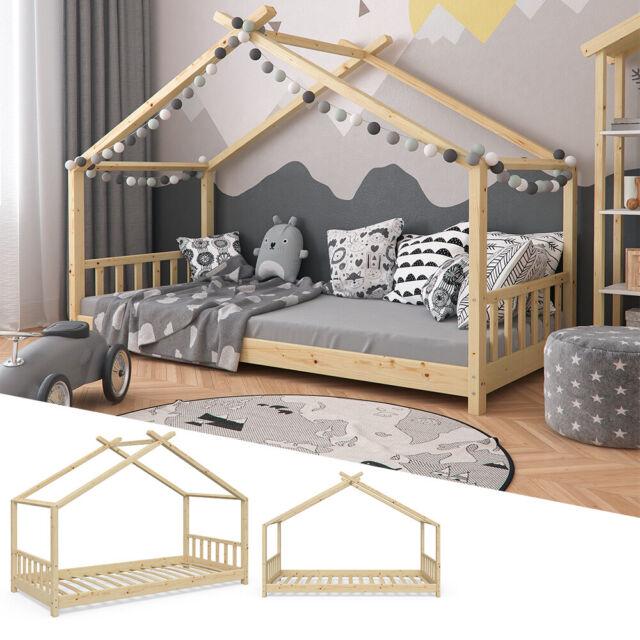 Vicco Kinderbett Hausbett Design 90x200cm Kinder Bett Holz Haus Hausbett Natur