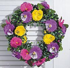 wunderschöner Tür- oder Wandkranz, bunte Stiefmütterchen, 25cm, neu