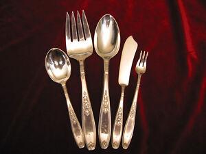 AMBASSADOR-Silverplate-Hostess-Serving-Set-1847-Rogers-Flatware-5-pc-Lot-MONO
