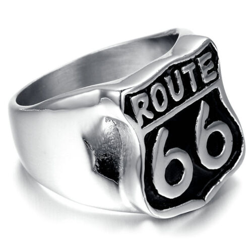 Hommes 18K plaqué Motard Club Band Ring US Route 66 Design Punk Ring Taille 8-10