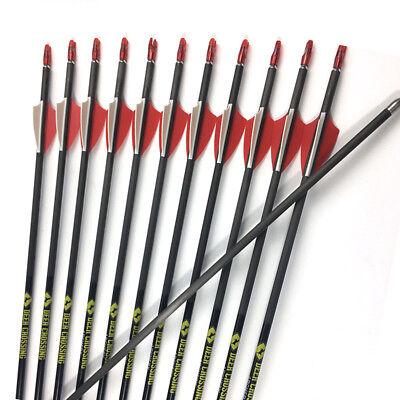 """12pcs 30"""" Sp700 Archery Carbon Arrow Shaft 1.75'' Vanes Bow Shooting Arrows Online Shop Archery"""