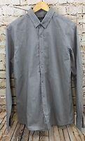 Rdx Mens Medium Slim Fit Shirt Button Front Gray Patterned Top