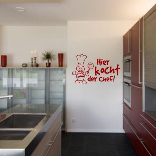 Wandtattoo AA449 Hier kocht der Chef  Küche Restaurant Wandmotiv Wandaufkleber
