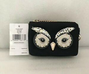 NWT-Kate-Spade-Owl-Mini-Natasha-Star-Bright-Mini-Coin-Card-Pouch-WLRU5149-Black