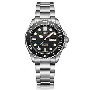 Rotary-Super-7-Plongee-Automatique-Cadran-Noir-Argent-Bracelet-Acier-Homme-S7S001B