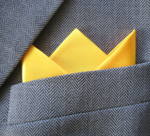 SUPERNOVA Yellow Satin 3 Point Carded Pocket Handkerchief Crombie Suit Wedding